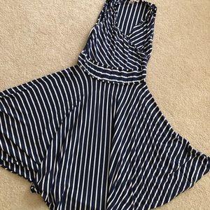 Navy white strip dress